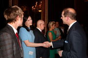 Prince Edward, Earl of Wessex meets singer Sophie Ellis-Bextor during a reception to celebrate the patronages & affiliations of the Earl and Countess of Wessex hosted by Queen Elizabeth II at Buckingham Palace on February 10, 2015 in London, England