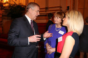 Prince Andrew, Duke of York talks to Pamela Healy (2nd right) and Pippa Collins (right)  during a reception to celebrate the patronages & affiliations of the Earl and Countess of Wessex hosted by Queen Elizabeth II at Buckingham Palace on February 10, 2015 in London, England