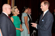 Prince Edward, Earl of Wessex meets actors Sheridan Smith (2nd L) and Matt Lucas (L)  during a reception to celebrate the patronages & affiliations of the Earl and Countess of Wessex hosted by Queen Elizabeth II at Buckingham Palace on February 10, 2015 in London, England