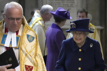 Queen Elizabeth II The Queen And The Princess Royal Attend A Service Of Thanksgiving At Westminster Abbey