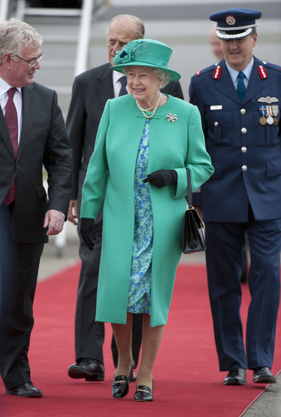 Queen Elizabeth II Queen Elizabeth II and Prince Philip, Duke of Edinburgh arrive at Baldonnel Airport on May 17, 2011 in Dublin, Ireland. The Queen's visit, accompanied by The Duke of Edinburgh, is the first by a monarch since 1911. An unprecedented security operation is taking place with much of the centre of Dublin turning into a car free zone. Republican dissident groups have made it clear they are intent on disrupting proceedings.