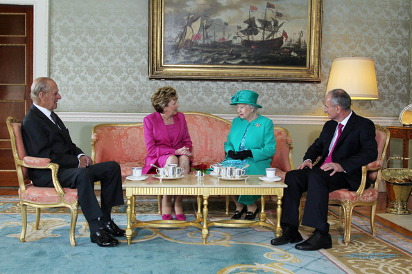 Queen Elizabeth II Prince Philip The Duke of Edinburgh, President Mary Mc Aleese, Queen Elizabeth II and Dr Martin Mc Aleese talk over a cup of tea at Aras An Uachtarain on May 17, 2011 in Dublin,Ireland. The Queen's visit, accompanied by The Duke of Edinburgh, is the first by a monarch since 1911. An unprecedented security operation is taking place with much of the centre of Dublin turning into a car free zone. Republican dissident groups have made it clear they are intent on disrupting proceedings.