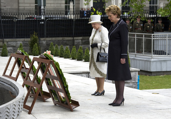 Queen Elizabeth II Irish President Mary McAleese and Queen Elizabeth II lay a wreath at Dublin Memorial Garden on May 17, 2011 in Dublin, Ireland. The Duke and Queen's visit is the first by a monarch since 1911. An unprecedented security operation is taking place with much of the centre of Dublin turning into a car free zone. Republican dissident groups have made it clear they are intent on disrupting proceedings.