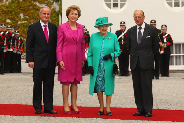 Queen Elizabeth II Queen Elizabeth II (2nd R) and Prince Philip, Duke of Edinburgh (R) are greeted by Irish President Mary McAleese (2nd L) and her husband Martin McAleese (L) as they arrive at the Aras an Uachtarain, the official residence of the President of Ireland, on May 17, 2011 in Dublin, Ireland. The Duke and Queen's visit is the first by a monarch since 1911. An unprecedented security operation is taking place with much of the centre of Dublin turning into a car free zone. Republican dissident groups have made it clear they are intent on disrupting proceedings.