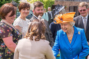Queen Elizabeth II meets tennants and Douchy of Lancaster estate staff at Lower Castle Hayes farm, one of the Duchy of Lancaster Farms  on May 25, 2017 in Staffordshire, United Kingdom.