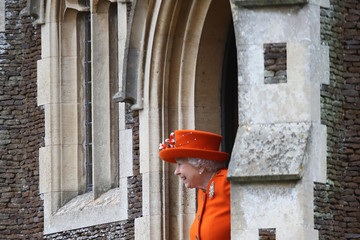 Queen Elizabeth II Members of the Royal Family Attend St Mary Magdalene Church in Sandringham