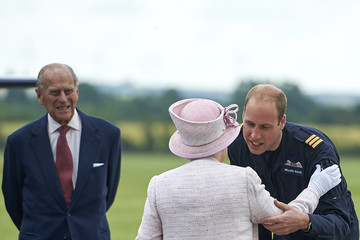 Queen Elizabeth II The Queen & Duke Of Edinburgh Open New Base Of East Anglian Air Ambulance At Cambridge Airport