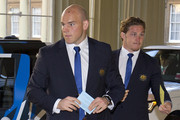 Australia's hooker and captain Stephen Moore and Australia's flanker Michael Hooper arrive for a reception to mark the Rugby World Cup 2015 at Buckingham Palace on October 12, 2015 in London, United Kingdom.