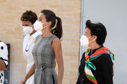 "(L-R) President of the regional government of Navarra, María Chivite, Queen Letizia of Spain and Minister of Education, Isabel Celáa are seen arriving to ""Nuestra Señora del Patrocinio"" school to celebrate the opening of the School Course 20-21 on September 14, 2020 in Navarra, Spain."