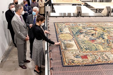 Queen Letizia of Spain King Felipe VI of Spain Spanish Royals Visit Spanish Royal Tapestry Factory On Its 300 Anniversary