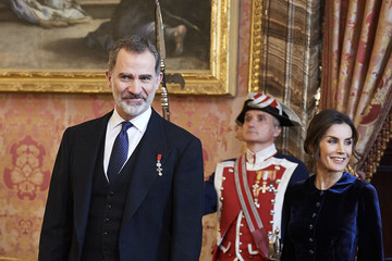Queen Letizia of Spain King Felipe VI of Spain Spanish Royals Receive The Diplomatic Corps At Zarzuela Palace