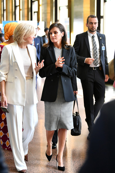 Queen Letizia Of Spain Attends World Health Assembly [white,fashion,street fashion,suit,white-collar worker,event,formal wear,blazer,outerwear,businessperson,queen,letizia of spain attends world health assembly,letizia,director,r,presentation,spain,who,department of public health environmental and social determinants of health maria neira,l]