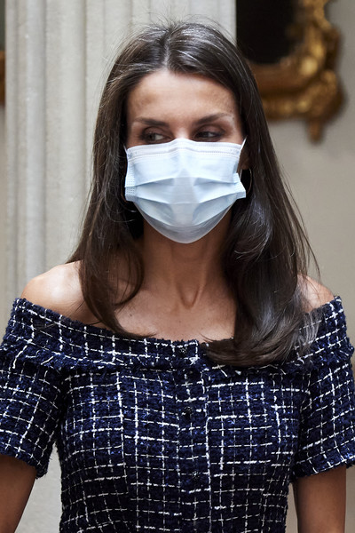 Spanish Royals Attend Cooperator's Day Act [day act,face,duct tape,head,nose,mouth,personal protective equipment,headgear,mask,neck,face mask,duct tape,cooperator,royals,letizia,head,fashion,spanish,spain,event,fashion,dos gardenias stein square neck bralette bikini top]
