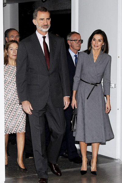 Spanish Royals Inaugurate an Exhibition to Commemorate the Anniversary of The Democracy [suit,clothing,formal wear,fashion,white-collar worker,event,standing,tuxedo,outerwear,pantsuit,felipe vi,royals,letizia,poeticas de la democracia,democracy,spanish,spain,museum,exhibition,anniversary]