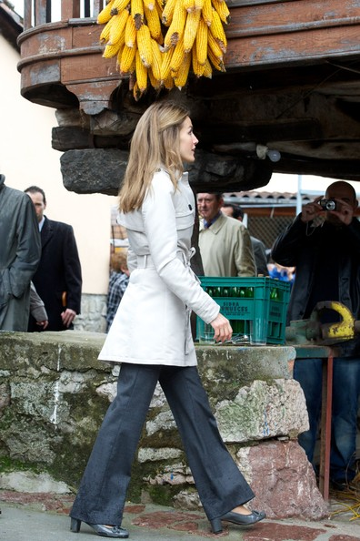Spanish Royals Visit Bueno Village [yellow,hairstyle,long hair,jeans,footwear,leg,temple,plant,street fashion,tourism,letizia,bueno,village,visit bueno village,spanish,spain,asturias,best asturian village,royals]