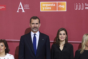 Queen Letizia of Spain Spanish Royals Attend 'In Memoriam' Concert
