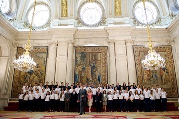 Queen Letizia of Spain Spanish Royals Receive 'Becas Europa' Participants