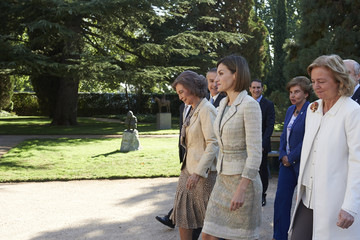 Queen Letizia of Spain Queen Letizia of Spain and Queen Sofia Attend Audiences in Zarzuela Palace