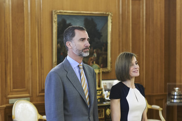 Queen Letizia of Spain Spanish Royals Attend Audiences in Zarzuela Palace