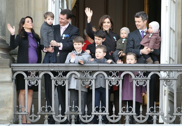 Princess Marie of Denmark, Prince Jaochim of Denmark, Princess Mary of Denmark and Crown Prince Frederik of Denmark make an appearance on the balcony to celebrate Queen Margarethe II of Denmark's 40 years on the throne at Amalienborg Royal Palace on January 15, 2012 in Copenhagen, Denmark.
