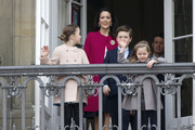 Crown Prince Frederik of Denmark, Crown Princess Mary of Denmark, Princess Josephine of Denmark, Princess Isabella of Denmark, Prince Vincent of Denmark, Prince Christian of Denmark attends the celebrations of her Majesty's 76th birthday at Amalienborg Royal Palace on April 16, 2016 in Copenhagen, Denmark.