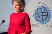 Queen Mathilde of Belgium delivers a speech at the Residence Palace during the 25th anniversary celebration of the Belgian Council for Durable Development on October 12, 2018 in Brussels, Belgium.