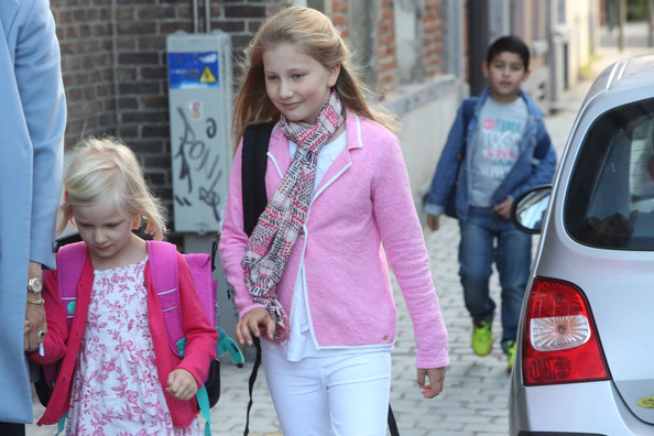 Princess Eleonore of Belgium and Princess Elisabeth, Duchess of Brabant arrive at Sint-Jans Berghmanscollege to attend the first of the day of the school year on September 1, 2014 in Brussel, Belgium.