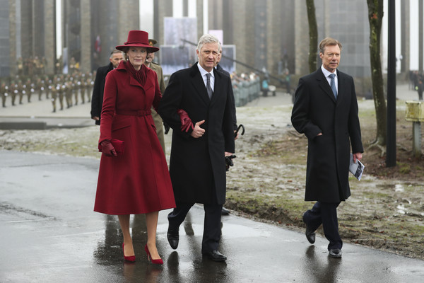 King Philippe Of Belgium And Queen Mathilde Attend The 75th Battle Of The Bulge Anniversary Remembrance Ceremony In Bastogne [battle of the bulge,fashion,standing,overcoat,outerwear,event,coat,formal wear,suit,winter,white-collar worker,philippe of belgium,mathilde,henri grand duke of luxembourg,anniversary remembrance ceremony in bastogne,l-r,belgium,bastogne,remembrance ceremony]