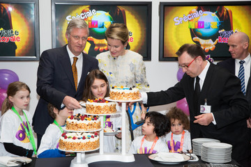 Queen Mathilde of Belgium King Philippe and Queen Mathilde Visit the RTBF