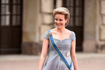 Queen Mathilde of Belgium Ceremony And Arrivals: Wedding of Prince Carl Philip of Sweden and Sofia Hellqvist