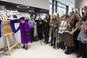 Queen Elizabeth II unveils a plaque while opening the new premises of the Royal National ENT and Eastman Dental Hospital on February 19, 2020 in London, England.