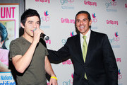"Recording artist David Archuleta (L) and Los Angeles Mayor Antonio Villaraigosa attend a pep rally for the ""Girl Up"" United Nations Foundation Campaign at Marlborough School on November 5, 2010 in Los Angeles, California."