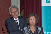 "Luis del Olmo and Queen Sofia of Spain  attend the 25th anniversary of the ""Proyecto Hombre"" association at the Ateneo de Madrid on November 27, 2014 in Madrid, Spain."