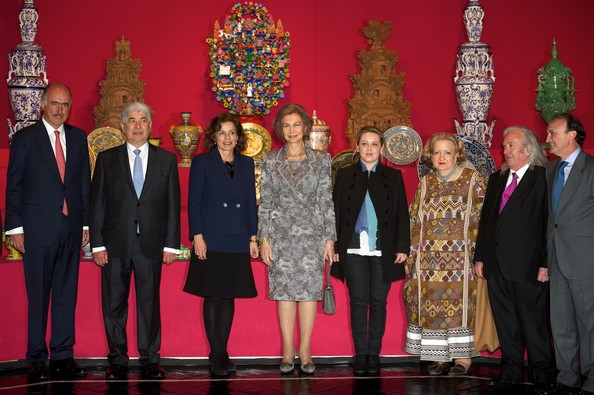 "Queen Sofia of Spain (C) visits the ""Grandes Maestros del Arte Popular de Iberoamerica"" exhibition at the Fernan Gomez Teather on April 2, 2013 in Madrid, Spain."