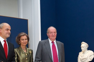Queen Sofia King Juan Carlos I Visits an Exhibit