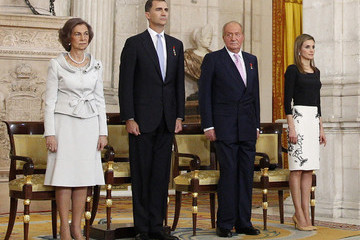 Queen Sofia King Juan Carlos I Signs His Official Abdication Papers