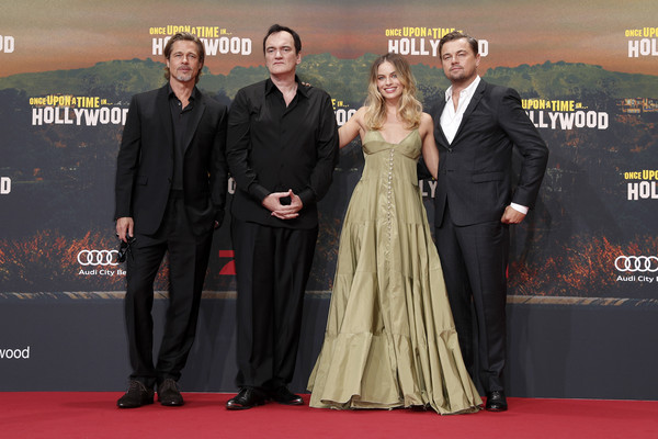 'Once Upon A Time... In Hollywood' Premiere In Berlin [once upon a time,red carpet,premiere,carpet,event,flooring,suit,dress,formal wear,award,premiere,leonardo di caprio,margot robbie,quentin tarantino,brad pitt,l-r,berlin,hollywood,premiere]