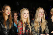 Alessandra Meyer-Woelden, Anna Hiltrop and Mirja du Mont are sitting in the front row at the Dimitri show during the Mercedes-Benz Fashion Week Berlin Spring/Summer 2017 at Erika Hess Eisstadion on June 28, 2016 in Berlin, Germany.