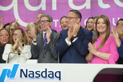 Mary Campbell, Mike George, Joe Brantuk, and Jamie Kern Lima attend the 'New QVC Group' Opening Bell Ceremony at NASDAQ MarketSite on June 12, 2018 in New York City.
