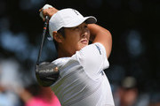 Danny Lee of New Zealand plays his shot from the first tee  during the third round at the RBC Canadian Open at Glen Abbey Golf Club on July 28, 2018 in Oakville, Canada.