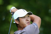 Danny Lee of New Zealand plays his shot from the 11th tee during the second round at the RBC Canadian Open at Glen Abbey Golf Club on July 27, 2018 in Oakville, Canada.