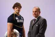 (L-R) Ross Ford of Scotland and Head Coach Andy Robinson of Scotland pose with the Triple Crown during the RBS Six Nations Launch at The Hurlingham Club on January 25, 2012 in London, England.