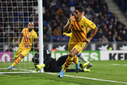 Luis Suarez of FC Barcelona celebrates after scoring his team's first goal during the La Liga match between RCD Espanyol and FC Barcelona at RCDE Stadium on January 04, 2020 in Barcelona, Spain.