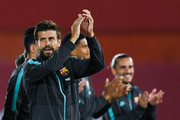 Gerard Pique of FC Barcelona waves during the Liga match between RCD Mallorca and FC Barcelona at Estadio de Son Moix on June 13, 2020 in Mallorca, Spain.