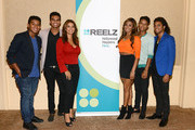 Jermajesty Jackson, Randy Jackson Jr., Alejandra Jackson, Genevieve Jackson, Jaafar Jackson and Donte Jackson pose backstage at the Reelz Channel 'Living With The Jacksons' panel at the 2014 Summer Television Critics Association at The Beverly Hilton Hotel on July 12, 2014 in Beverly Hills, California.