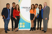 Jermajesty Jackson, Randy Jackson Jr., Alejandra Jackson, Genevieve Jackson, Jaafar Jackson; Donte Jackson and CEO of Reelz, Stan Hubbard pose backstage at the Reelz Channel 'Living With The Jacksons' panel at the 2014 Summer Television Critics Association at The Beverly Hilton Hotel on July 12, 2014 in Beverly Hills, California.