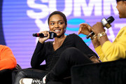 China Anne McClain speaks onstage at the REVOLT X AT&T Host REVOLT Summit In Los Angeles at Magic Box on October 27, 2019 in Los Angeles, California.