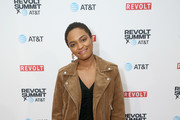 China Anne McClain attends the REVOLT X AT&T Host REVOLT Summit In Los Angeles at Magic Box on October 27, 2019 in Los Angeles, California.