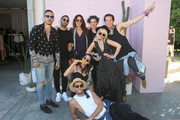(clockwise from left)  Rob Garcia, guest, Tahnee Atkinson , Barron Hanson, Ben Mills, Shush Starkey, Leah McCarthy and Jack Vanderhart attend REVOLVE Desert House on April 17, 2016 in Thermal, California.