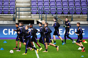 The players warm up during the R.S.C. Anderlecht Training Session held at Constant Vanden Stock Stadium on October 21, 2014 in Brussels, Belgium. Anderlecht and Arsenal will play tomorrow night in their Group D UEFA Champions League match.
